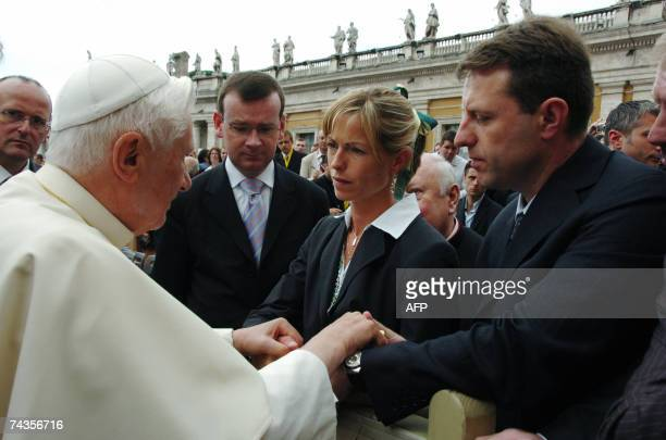 Pope Benedict XVI meets Kate and Gerry McCann the parents of Madeleine McCann the fouryearold British girl who disappeared in Portugal nearly a month...