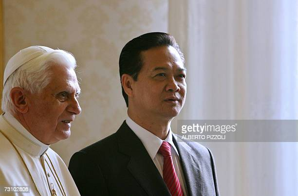 Pope Benedict XVI meets Vietnam's prime minister Nguyen Tan Dung during a private audience at the Vatican 25 january 2007 the first time a leader of...