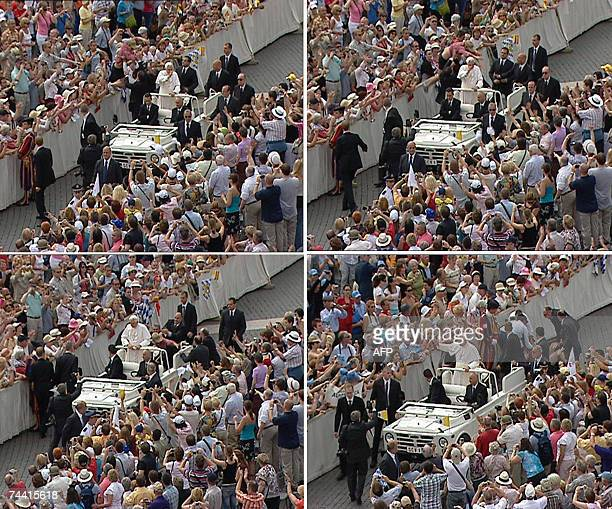 TV grabs taken from CTV TV show an apparently deranged German man jumps a barricade and tried to board Pope Benedict XVI's open white jeep before...