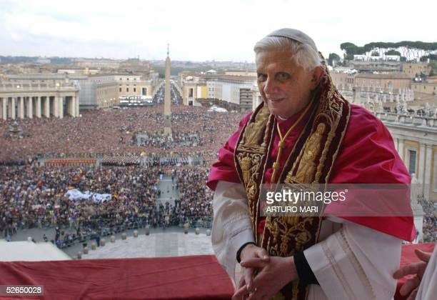 Pope Benedict XVI Cardinal Joseph Ratzinger of Germany appears on the balcony of St Peter's Basilica in the Vatican after being elected by the...