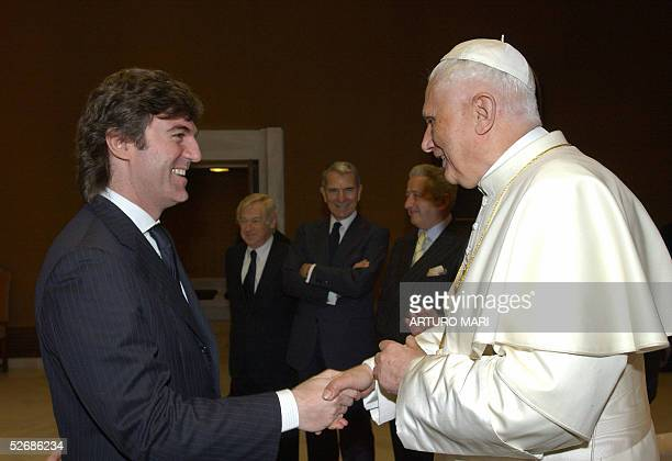Vatican: Pope Benedict XVI meets with the President of Italian RAI TV, Flavio Cattaneo, after an audience with the international press 23 April 2005...
