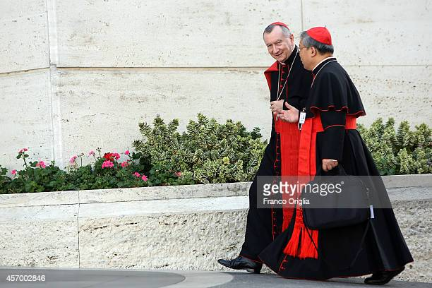 Vatican Secretary of State cardinal Pietro Parolin arrives at the Synod Hall for the fifth day of the Synod on the themes of family on October 10...
