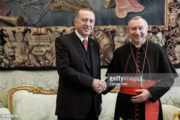 Vatican Secretary of state cardinal Pietro Parolin meets President of Turkey Recep Tayyip Erdogan at the Apostolic Palace on February 5 2018 in...