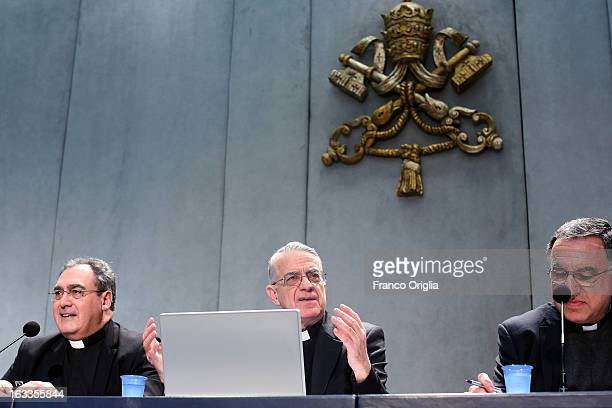 Vatican spokesman father Federico Lombardi attends a briefing on the seventh general congregation of cardinals at the Holy See press room on March 8,...