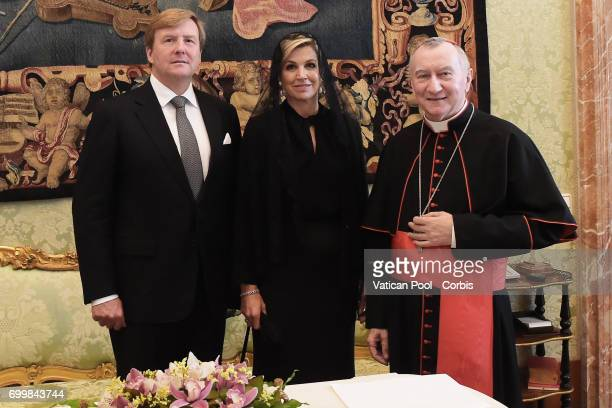 Vatican State Secretary Pietro Parolin meets Dutch King WillemAlexander and Queen Maxima at the Apostolic Palace on June 22 2017 in Vatican City...
