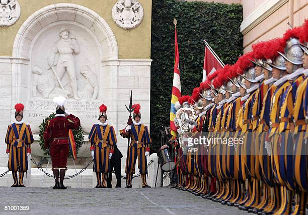 Vatican Swiss Guards' Colonel Elmar Theodore Mader , salutes after laying a memorial wreath on May 6 at the Vatican. The ceremony is held each May 6...