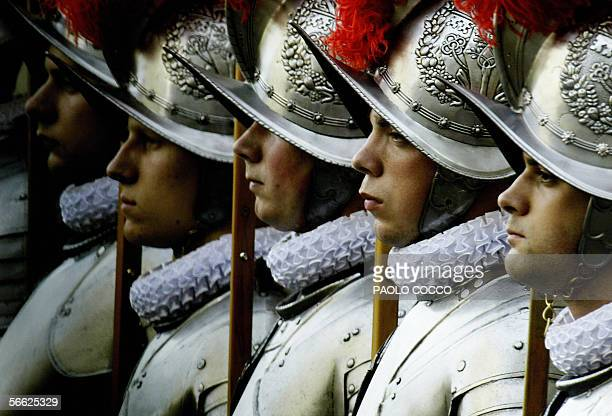 Picture taken 06 May 2003 of New Swiss Guard recruits stand during a swearing-in ceremony in the Vatican. AFP PHOTO / PAOLO COCCO