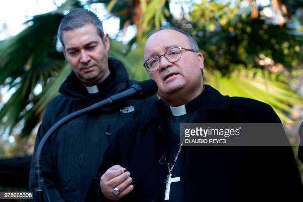 Vatican's top abuse investigator Maltese archbishop Charles Scicluna and fellow papal envoy Jordi Bertomeu give a press conference at the Apostolic...