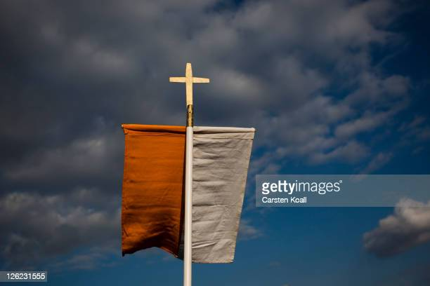 A vatikan flag waves during an evening virgil leads by Pope Benedict XVI at Etzelsbach chapel on September 23 2011 in Steinbach near Goettingen...