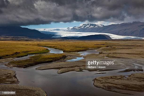 vatnajokull glacier and wetlands. - austurland stock-fotos und bilder
