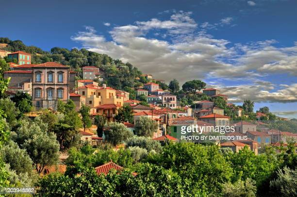 vatousa traditional settlement - dimitrios tilis stock pictures, royalty-free photos & images
