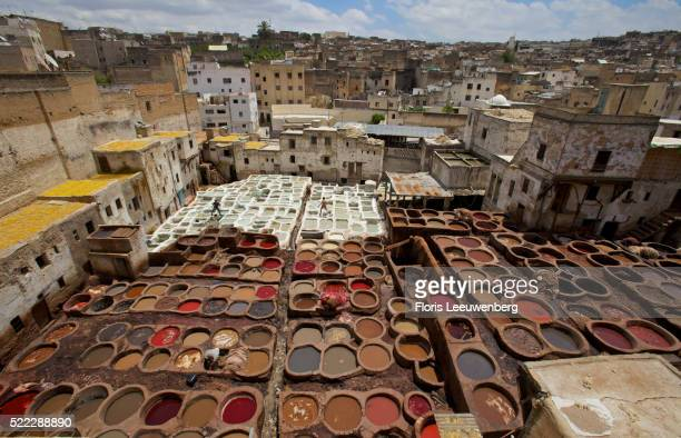 Vats of color at a tannery