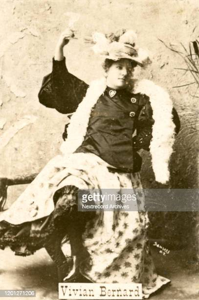 Vaudeville stage actress, Vivian Bernard on collectible tobacco card from 1894-1907, Ogden's Guinea Gold Cigarettes from England, depicting the...