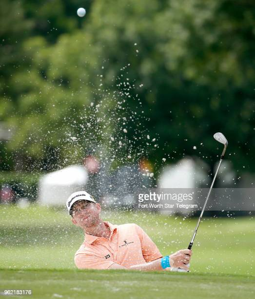 Vaughn Taylor chips out of the bunker on number 10 during the opening day of the Invitational at Colonial in Fort Worth Texas on Thursday May 24 2018