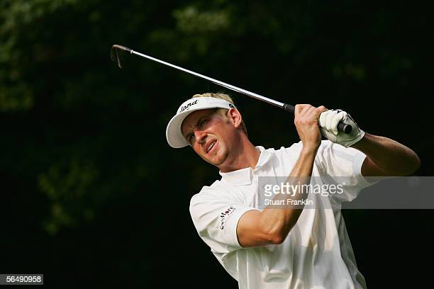 Vaughn Taylor hits a shot during the second round of the 2005 PGA Championship at Baltusrol Golf Club on August 12, 2005 in Springfield, New Jersey.