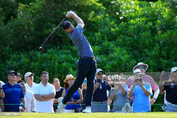 Vaughn Taylor of the United States hits his dive on the seventh hole during the final round of the Mayakoba Golf Classic at El Camaleon Mayakoba Golf...