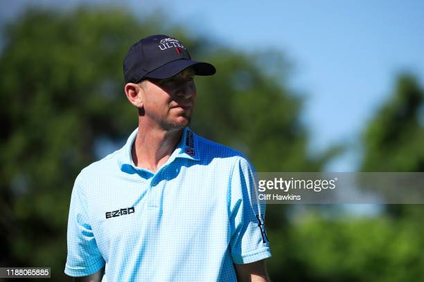 Vaughn Taylor of the United States looks on from the 12th tee during the second round of the Mayakoba Golf Classic at El Camaleon Mayakoba Golf...