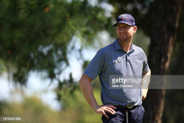 Vaughn Taylor of the United States looks on from the eighth tee during the second round of the Valspar Championship on the Copperhead Course at...
