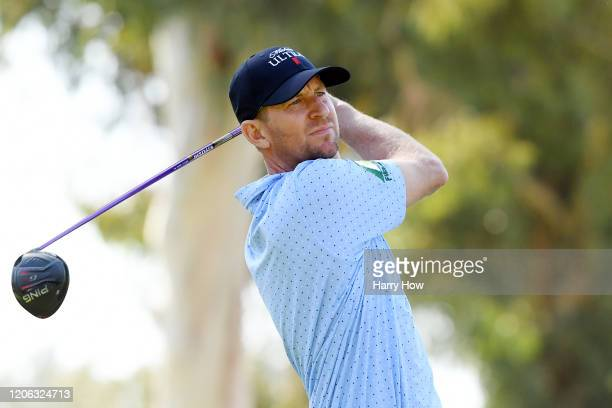 Vaughn Taylor of the United States plays a shot on the ninth hole during the second round of the Genesis Invitational at Riviera Country Club on...