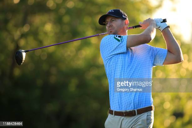 Vaughn Taylor of the United States plays his shot from the 16th tee during the continuation of the final round of the Mayakoba Golf Classic at El...