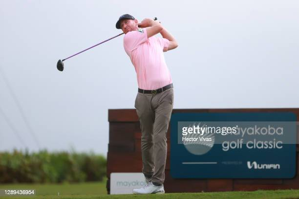 Vaughn Taylor of the United States plays his shot from the 16th tee during the second round of the Mayakoba Golf Classic at El Camaleón Golf Club on...