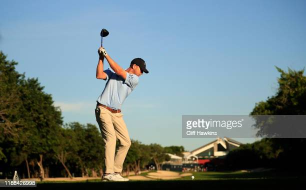 Vaughn Taylor of the United States plays his shot from the 18th tee during the continuation of the final round of the Mayakoba Golf Classic at El...