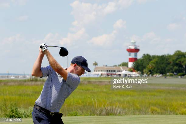 Vaughn Taylor of the United States plays his shot from the 18th tee during the third round of the RBC Heritage on June 20, 2020 at Harbour Town Golf...
