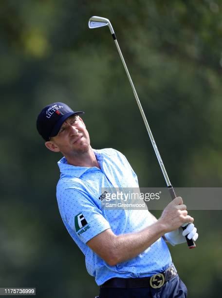 Vaughn Taylor of the United States plays his shot from the seventh tee during the first round of the Sanderson Farms Championship at The Country Club...