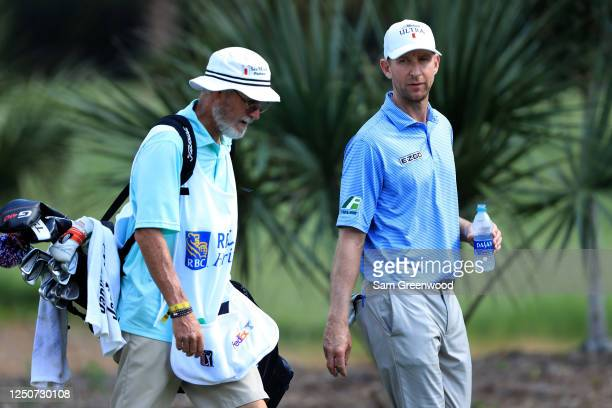 Vaughn Taylor of the United States walks with his caddie during the second round of the RBC Heritage on June 19, 2020 at Harbour Town Golf Links in...