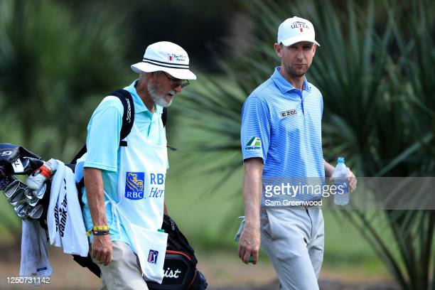 Vaughn Taylor of the United States walks with his caddie on the ninth hole during the second round of the RBC Heritage on June 19, 2020 at Harbour...