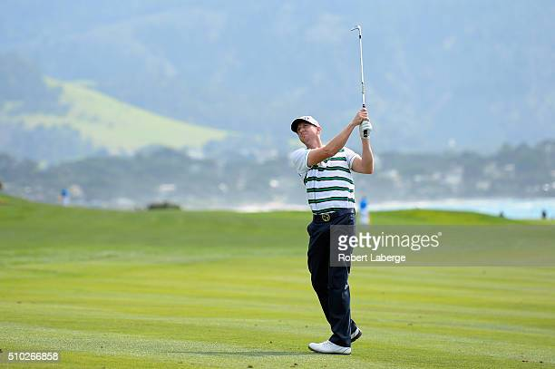 Vaughn Taylor plays a shot from the fairway on the 14th hole during the final round of the AT&T Pebble Beach National Pro-Am at the Pebble Beach Golf...