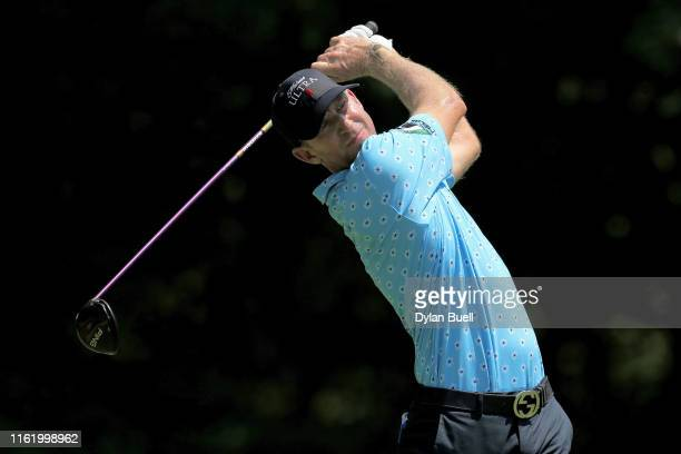 Vaughn Taylor plays his shot from the second tee during the final round of the John Deere Classic at TPC Deere Run on July 14, 2019 in Silvis,...