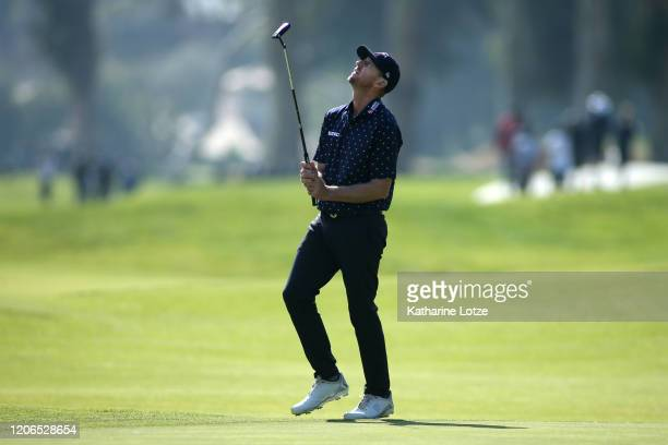 Vaughn Taylor reacts to a putt on the 17th hole during round three of the Genesis Invitational at the Riviera Country Club on February 15, 2020 in...