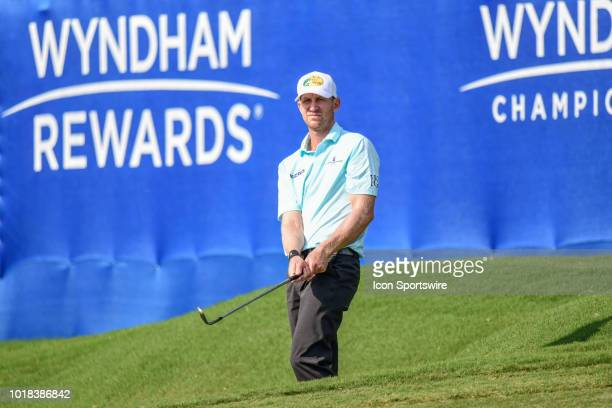 Vaughn Taylor watches his chip shot on the 15th green during the second round of the Wyndham Championship on August 17 2018 at Sedgefield Country...