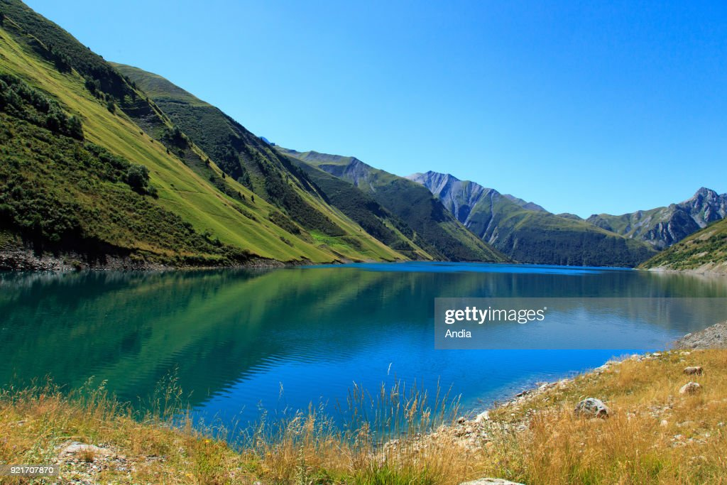 Vaujany (south-eastern France); Grand'Maison Dam in the Romanche Valley between the Belledonne and Grandes Rousses mountains.