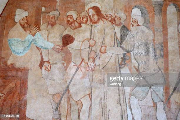 Vault de Lugny church 16th century wall painting Christ in his passion The Tribunal of Annas France
