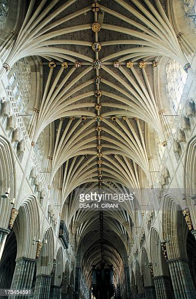 Vault of the central nave of Exeter Cathedral England United Kingdom