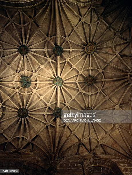 Vault with transverse and diagonal ribs of the Church of Santa Maria Jeronimos Monastery or Hieronymites Monastery 15021572 Belem district Lisbon...