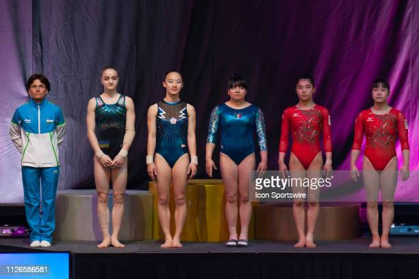 Vault women line up prior to the qualifying round at The World Cup Gymnastics on February 21, 2019 at Melbourne Arena, VIC.