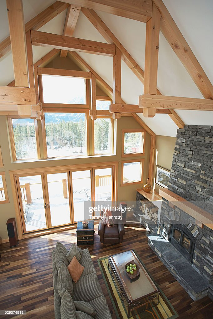 Vaulted ceiling in chalet : Stock Photo