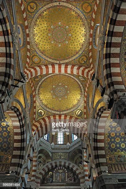 Vaulted ceiling in Notre-Dame-de-la-Garde basilica cathedral, Marseille, France, Europe
