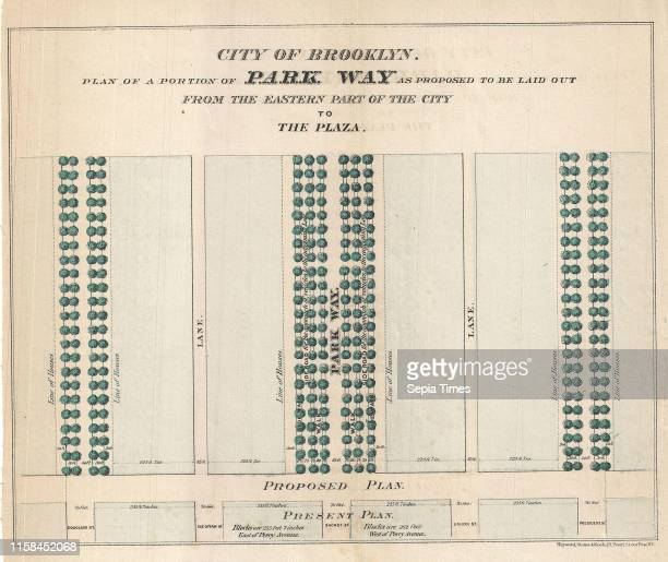 1868 Vaux and Olmstead's Layout Map of Eastern Parkway Brooklyn New York