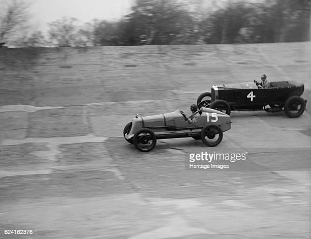 Vauxhall and Salmson racing at a BARC meeting Brooklands Surrey 1931 Artist Bill BrunellRight Vauxhall 4398 cc Event Entry No 4 Centre Salmson Event...
