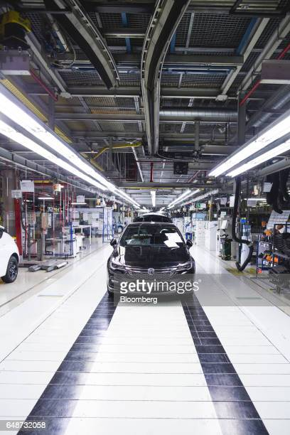 A Vauxhall Astra vehicle stands during quality control checks at the end of the production line at the Opel automobile plant in Gliwice Poland on...