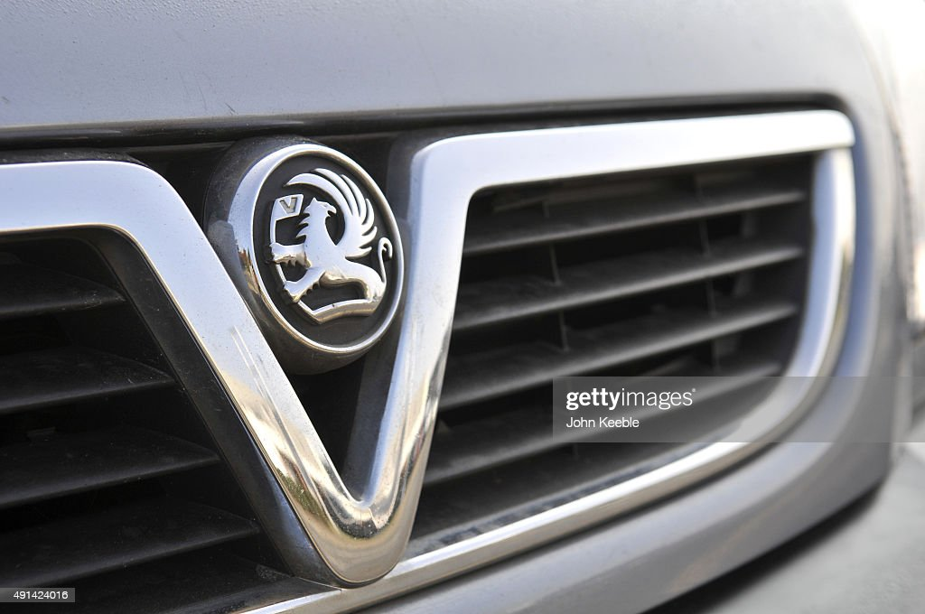 A vauxhall logo radiator badge is pictured on October 4, 2015 in Southend on Sea, England.