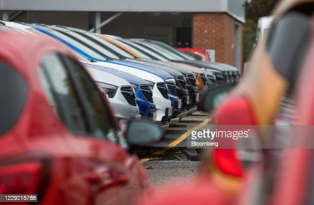 Vauxhall Mokka automobiles, manufactured by the PSA Group, on the forecourt of a dealership, operated by Pentagon Motor Group, a division of Motus...