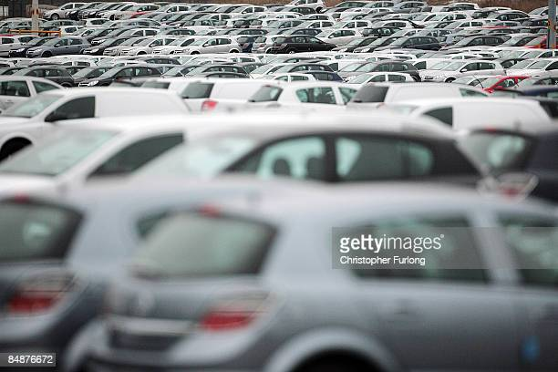 Vauxhall motor cars sit in the distribution yard at the company's manufacturing plant on February 18 2009 in Ellesmere Port England Vauxhall's parent...