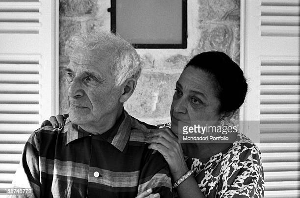 Vava Brodsky with her hands on the shoulders of her husband Russian-born French painter Marc Chagall . Saint-Paul de Vence, September 1967