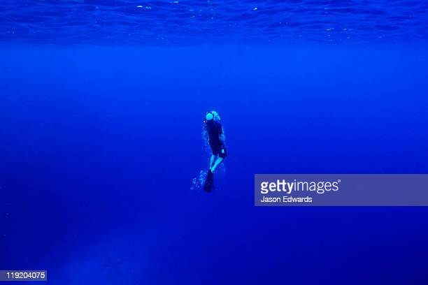 A free diver exhales through his snorkel as he surfaces from the deep.