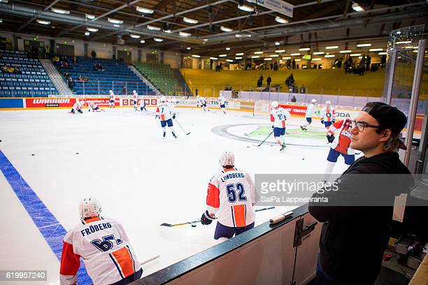 Vaxjo before the Champions Hockey League Round of 16 match between SaiPa Lappeenranta and Vaxjo Lakers at Kisapuisto on November 1, 2016 in...